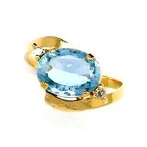Anel Água Marinha Azul Com Brilhantes Em Ouro 18k 18644 K448