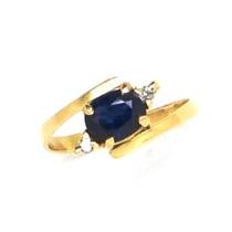 Anel Safira Azul Genuína Com Brilhantes Ouro 18k 18642 K4.55