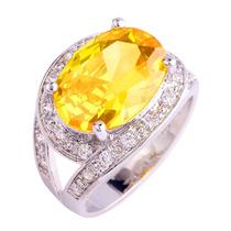 Anel Citrino Amarelo E Diamantes Em Prata 925 (0326) Aro 25