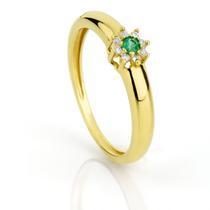 Anel De Formatura Esmeralda Redonda E Diamantes