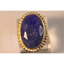 Rsp J2417 Anel Prata 925 B. Ouro Safira Azul Frete Grátis