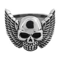 Anel Caveira Inox Com Asas Importado Harley Moto Clube
