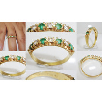 Boqueiraojoias Meia Aliança Ouro 18k Esmeralda E Diamantes.