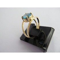 Lindo Anel Pedra Topazio Natural Azul Ouro 18k