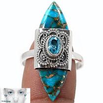 Jóia Anel Pedra Turquesa E Topazio Azul - Prata 925