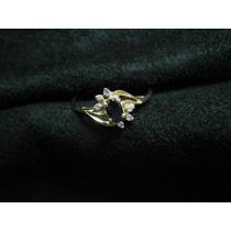 [ronqui] Anel Citrino Violeta Brilhantes Ouro 18k