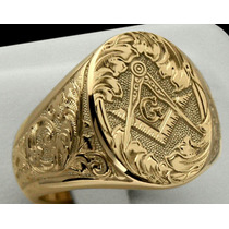Anel Brasão Maçonaria Ouro 18k Jóia Artística