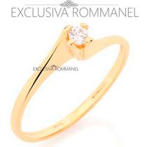 Rommanel Anel Solitario Zirconia Feminino Folhea Ouro 510516