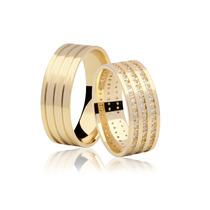 Aliança Casamento Top Ouro 18k 7mm 14 Grs C/ 102 Diamantes