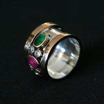 Anel Prata C/ouro Pedra Esmeralda,rubi,amestita
