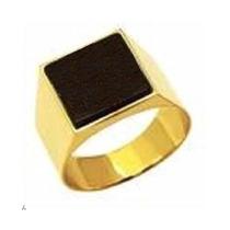 Anel Comendador Em Ouro 18k Com 10 Grs. E Pedra Onix