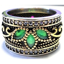 Eks-anel Aliança Turquia Turco Prata 925 Safira Esmeralda