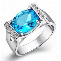 Anel Solitário Em Prata 925 Legítima C/ Safira Azul Simulada