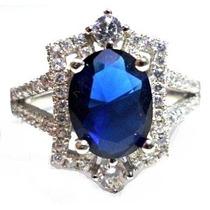 Emt-anel Princesa Prata 925 Zirconia Cristal Tom Safira Rod