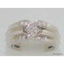 Boqueiraojoias Anel Com 14 Diamantes Ouro Branco 18k-750.