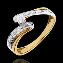 Anel Soltário Com Diamantes De 15 Pontos Em Ouro 18 Quilate