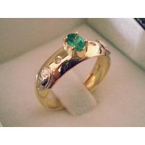 Anel De Formatura Pedra Oval E Brilhantes Em Ouro 18k