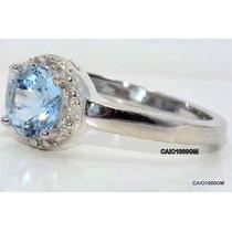 Magnífico Anel De Água-marinha Natural Com Diamantes