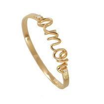 Anel De Noivado Meia Aliança Ouro 18k Diamantes Escrita Amor