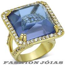 Anel Quadrado Ametista Pedra Natural Folheado Ouro 18k Luxo
