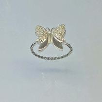Anel Borboleta - De Prata 950 Com Zircônias Brilhantes