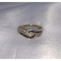 Anel Moderno De Ouro 18k Com Brilhantes E Safira Azul Prince