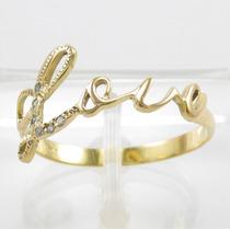 Esfinge Jóias - Anel Love Com Diamantes Aro23 Ouro 18k 750.