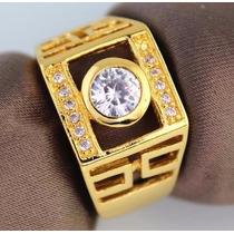 Anel Masculino Aro 24 Banhado Em Ouro Cristal Zirconia J2223