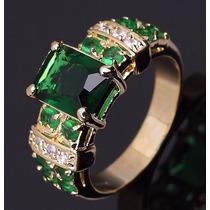 Anel Aliança Gold Filled Ouro 18 Esmeralda Formatura Aro 26
