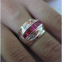 Anel Prata 950 Com 5 Rubis Sintéticos Dois Apliques De Ouro