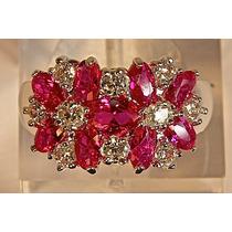 Rsp J2737 Anel A Ouro Turmalinas Rosas... Frete Grátis