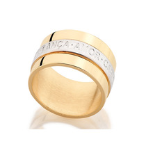 Anel Liso Folhado Ouro Detalhe Rhodium Rommanel