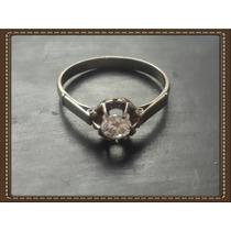 Anel Solitário De Ouro Branco 18k Com Lindo Diamante.