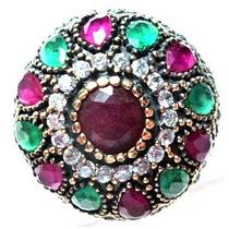 Promoção-eve-anel Turquia Turco Prata 925 Esmeralda Rubi