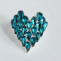 Anel Prata 925 Coração Detalhes Em Ametista Azul - Aro 17