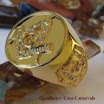 Anel Circular Compasso Maçonaria Ouro 18k Banho Ojoalheiro