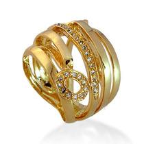 Anel Folheado Ouro 18k - 10 Microns Modelo An5003 Promoção
