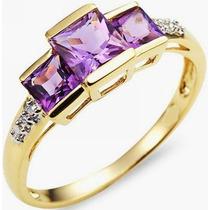 Lindo Anel Feminino Ouro 18k, Ametistas Naturais E Diamantes