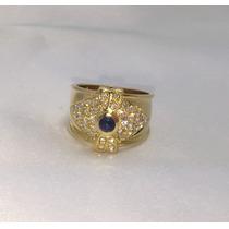 Anel Moderno De Ouro Amarelo 18k Brilhantes E Safira Azul!