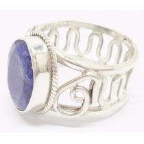 Anel Feminino De Prata 925 Com Safira Azul Natural