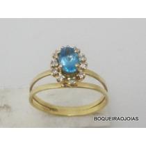 Boqueiraojoias Anel Chuveiro Diamantes Agua Marinha Ouro 18k