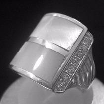 Anel Em Prata 950 Com Madrepérola E Zircônias
