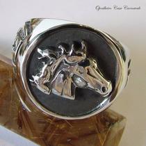 Anel Cabeça De Cavalo Em Prata Maciça Ojoalheiro