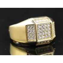 Anel Masculino Em Ouro 18k Com Diamantes