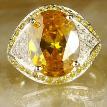 Anel Citrino Amarelo E Diamantes Em Prata 925 (0108) Aro 22