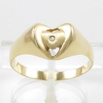 Esfinge Jóias - Anel Design Coração Aro23 Em Ouro 18k 750.