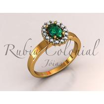 Anel De Esmeralda Natural E Diamantes De Qualidade.