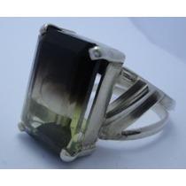 Anel De Prata 925 Com Pedras Preciosas Quartzo Bicolor