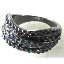 Anel Banho De Ródio Negro Com Pedras Azuis