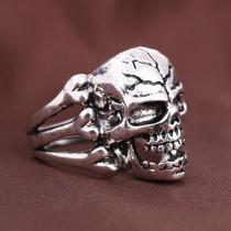 Anel Masculino Skull Crânio Caveira Em Metal Rock Punk